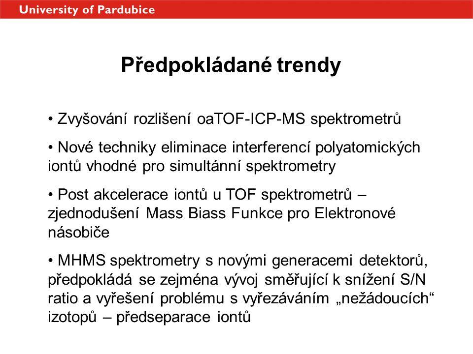 Předpokládané trendy Zvyšování rozlišení oaTOF-ICP-MS spektrometrů