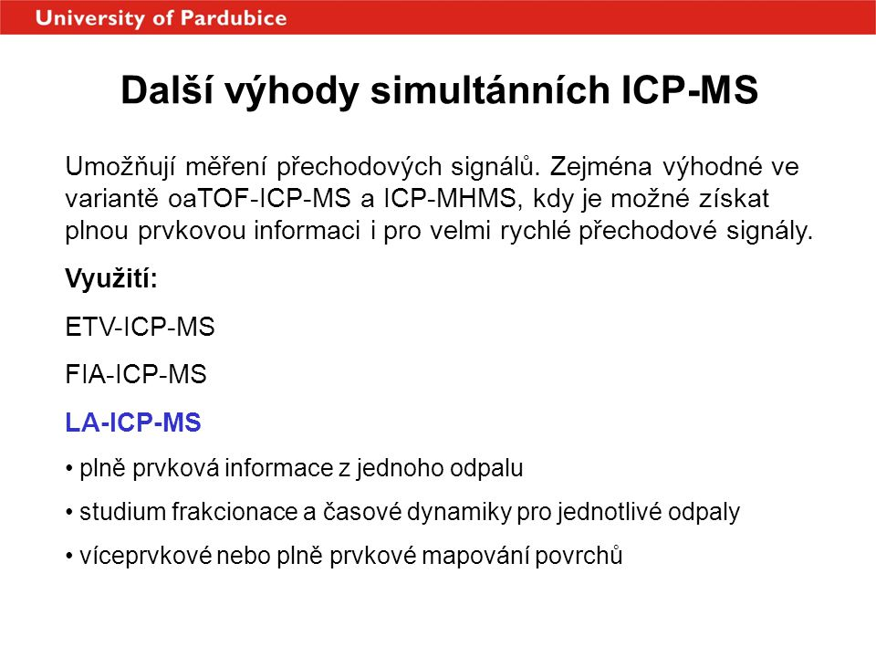 Další výhody simultánních ICP-MS