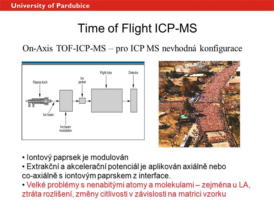 Time of Flight ICP-MS On-Axis TOF-ICP-MS – pro ICP MS nevhodná konfigurace. Iontový paprsek je modulován.