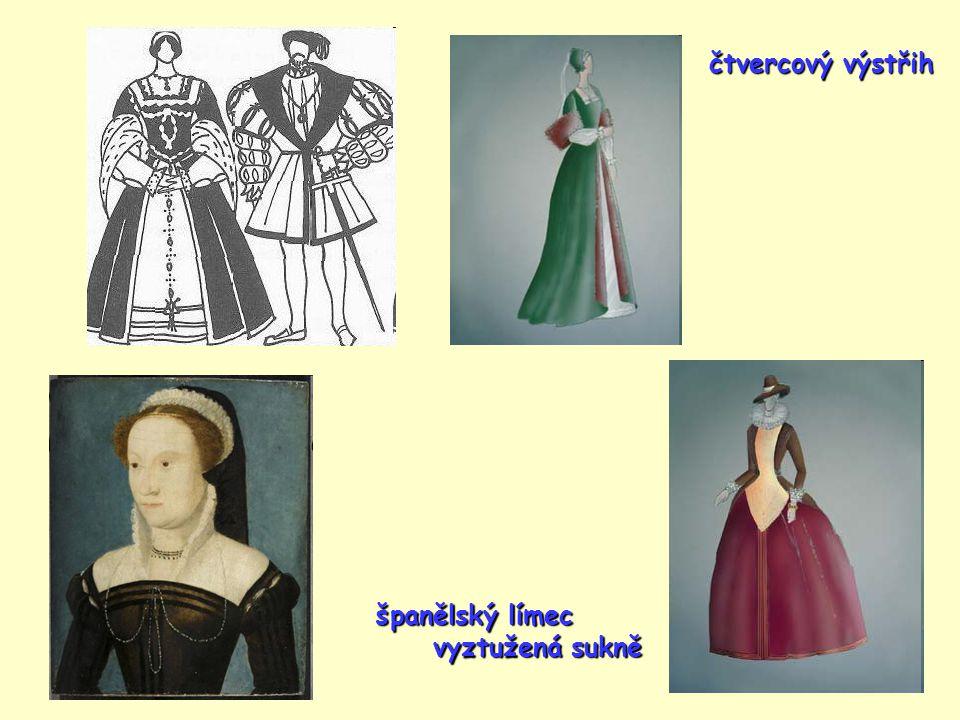 čtvercový výstřih španělský límec vyztužená sukně