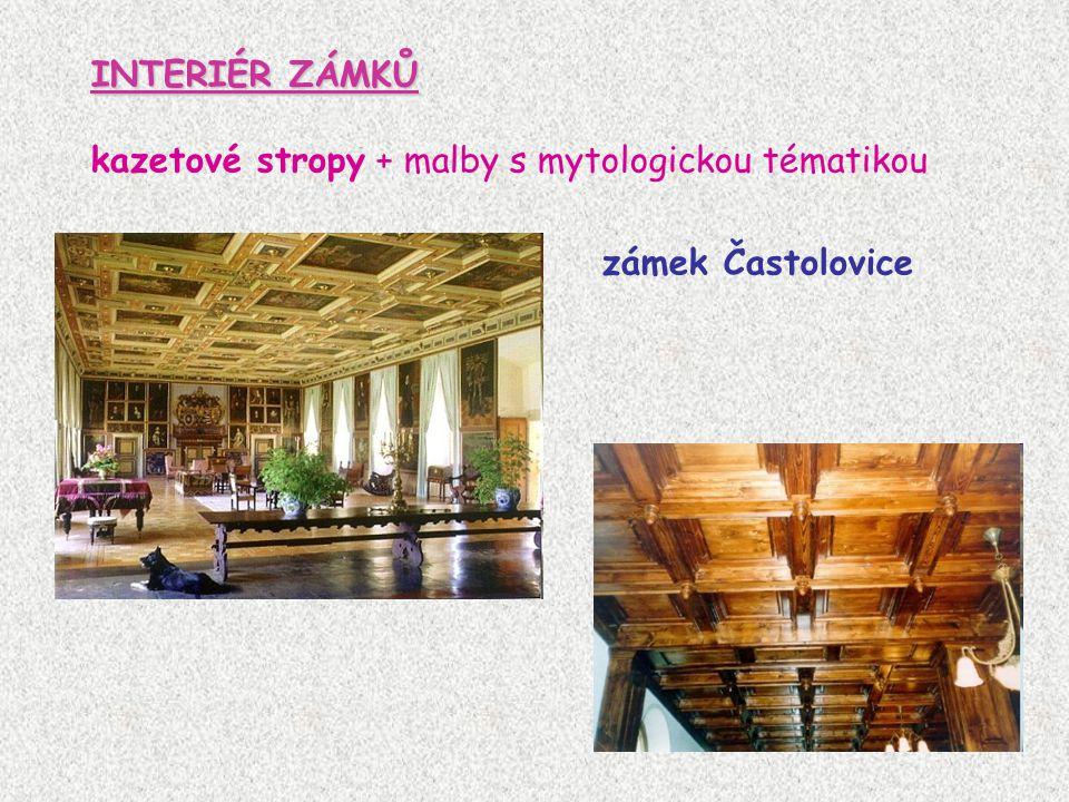 INTERIÉR ZÁMKŮ kazetové stropy + malby s mytologickou tématikou zámek Častolovice