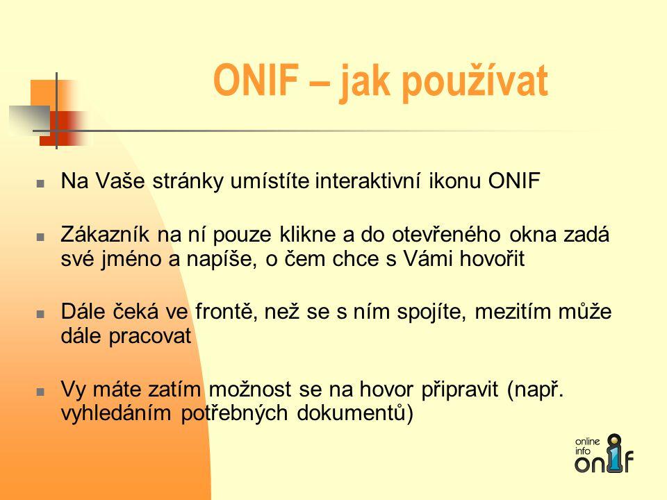 ONIF – jak používat Na Vaše stránky umístíte interaktivní ikonu ONIF