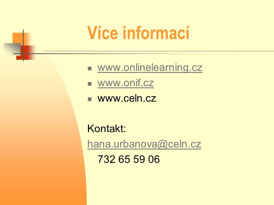 Více informací www.onlinelearning.cz www.onif.cz www.celn.cz Kontakt: