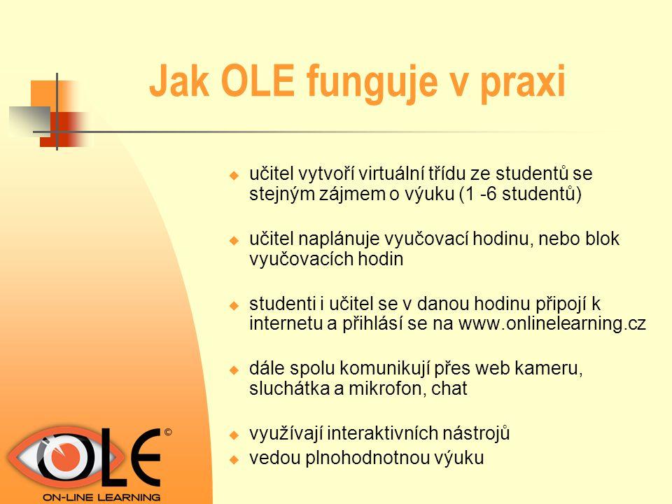 Jak OLE funguje v praxi učitel vytvoří virtuální třídu ze studentů se stejným zájmem o výuku (1 -6 studentů)