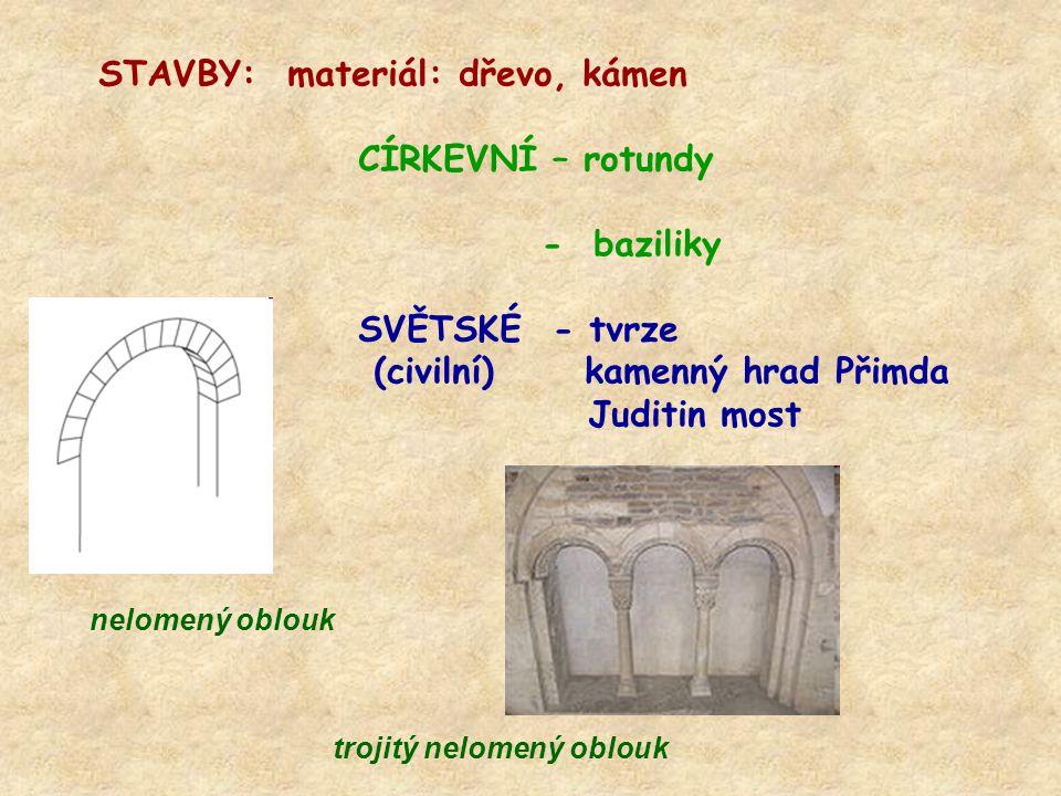 STAVBY: materiál: dřevo, kámen CÍRKEVNÍ – rotundy - baziliky