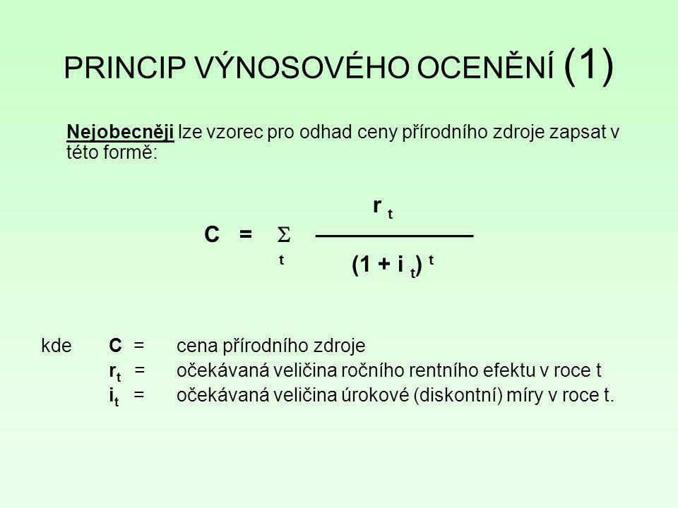PRINCIP VÝNOSOVÉHO OCENĚNÍ (1)