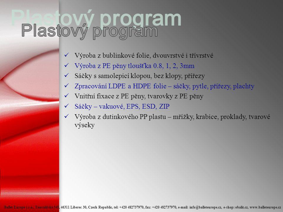 Plastový program Výroba z bublinkové folie, dvouvrstvé i třívrstvé