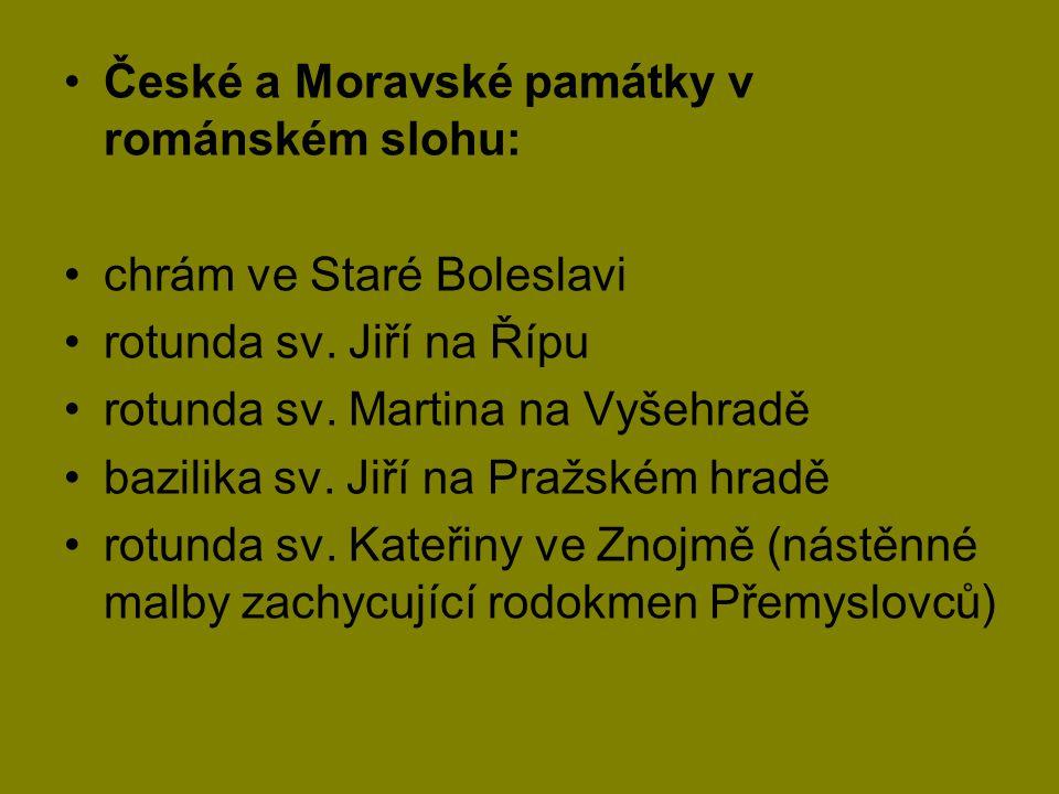 České a Moravské památky v románském slohu: