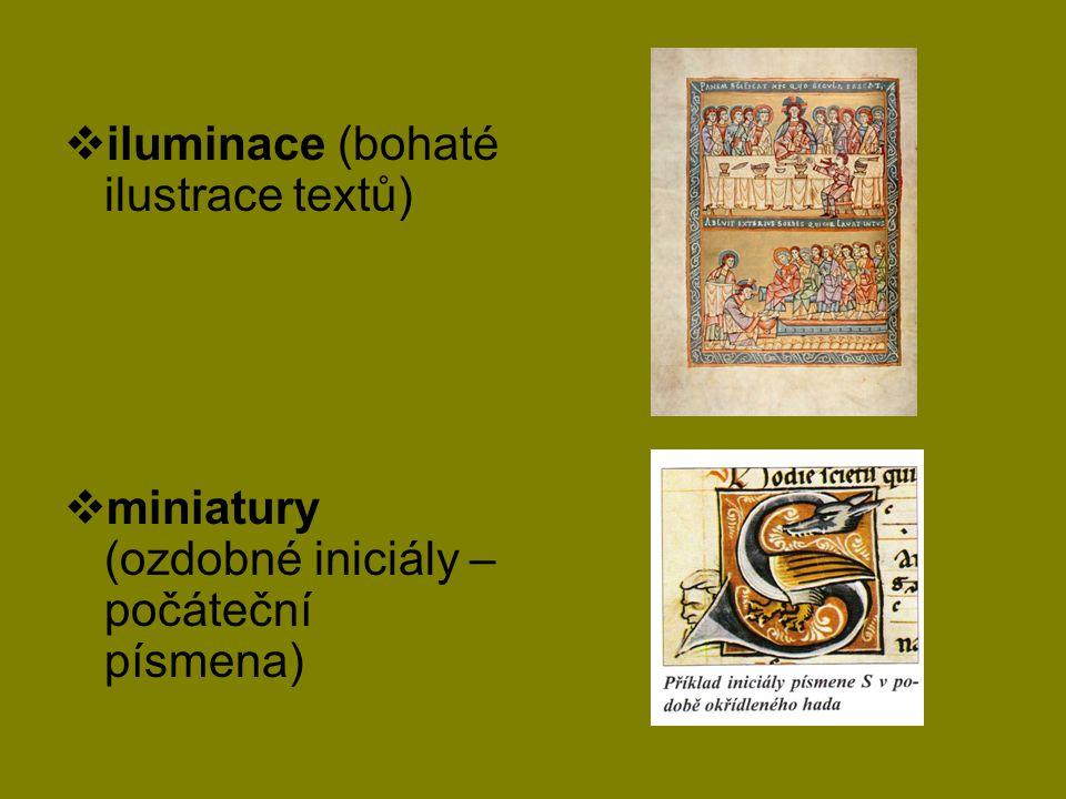 iluminace (bohaté ilustrace textů)