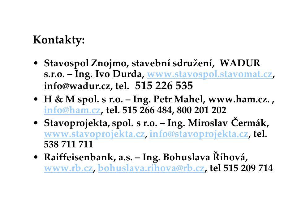 Kontakty: Stavospol Znojmo, stavební sdružení, WADUR s.r.o. – Ing. Ivo Durda, www.stavospol.stavomat.cz, info@wadur.cz, tel. 515 226 535.