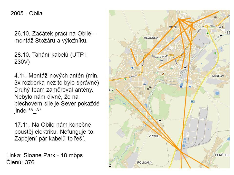 2005 - Obila 26.10. Začátek prací na Obile – montáž Stožárů a výložníků. 28.10. Tahání kabelů (UTP i 230V)