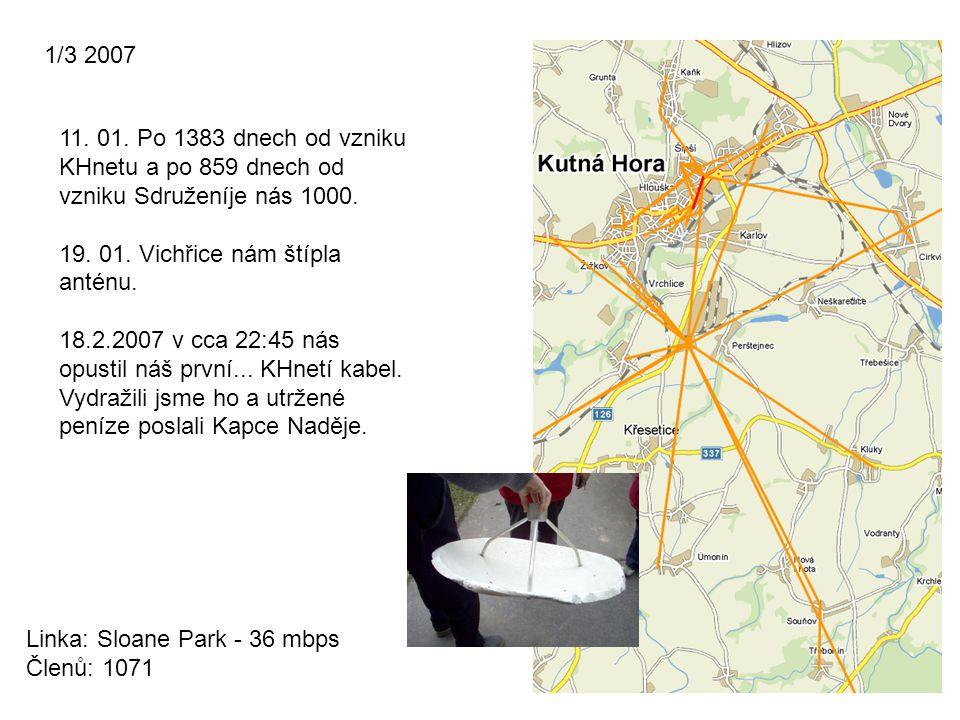 1/3 2007 11. 01. Po 1383 dnech od vzniku KHnetu a po 859 dnech od vzniku Sdruženíje nás 1000. 19. 01. Vichřice nám štípla anténu.