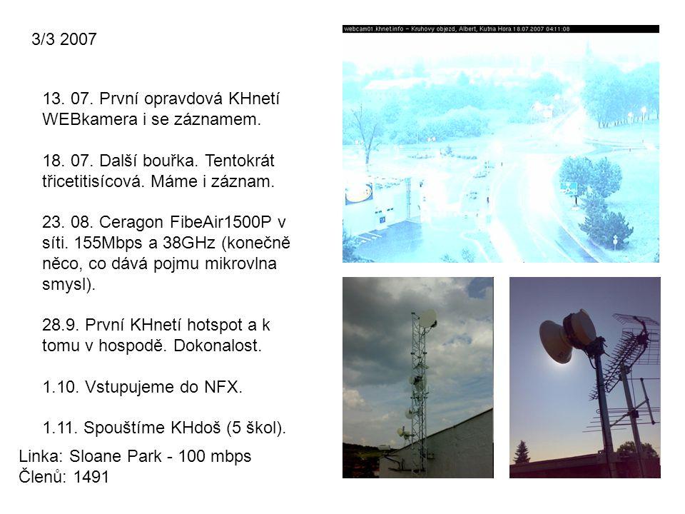 3/3 2007 13. 07. První opravdová KHnetí WEBkamera i se záznamem. 18. 07. Další bouřka. Tentokrát třicetitisícová. Máme i záznam.