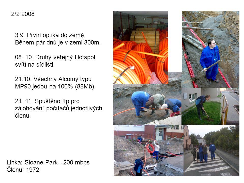 2/2 2008 3.9. První optika do země. Během pár dnů je v zemi 300m. 08. 10. Druhý veřejný Hotspot svítí na sídlišti.