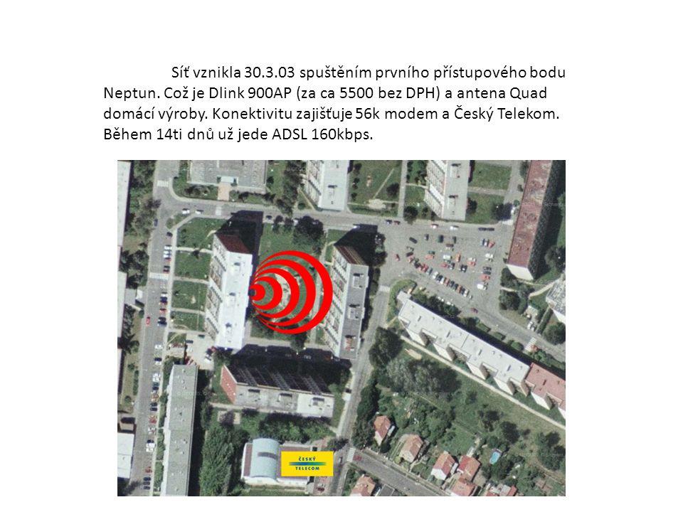 Síť vznikla 30. 3. 03 spuštěním prvního přístupového bodu Neptun