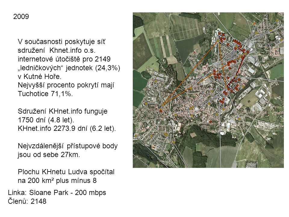 """2009 V současnosti poskytuje síť sdružení Khnet.info o.s. internetové útočiště pro 2149 """"ledničkových jednotek (24,3%) v Kutné Hoře."""
