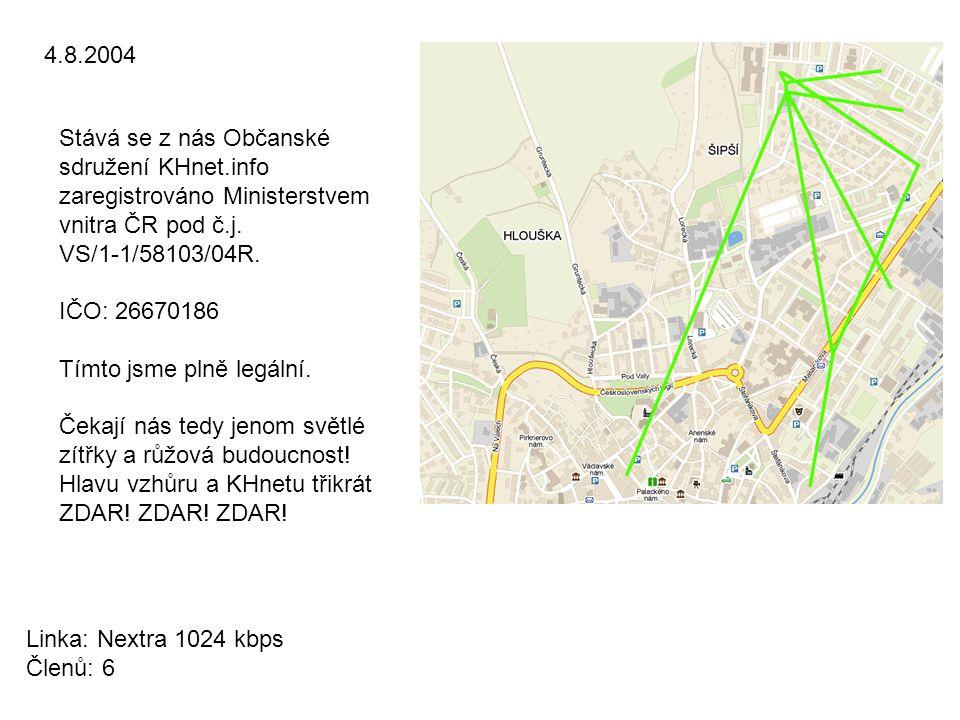 4.8.2004 Stává se z nás Občanské sdružení KHnet.info zaregistrováno Ministerstvem vnitra ČR pod č.j.