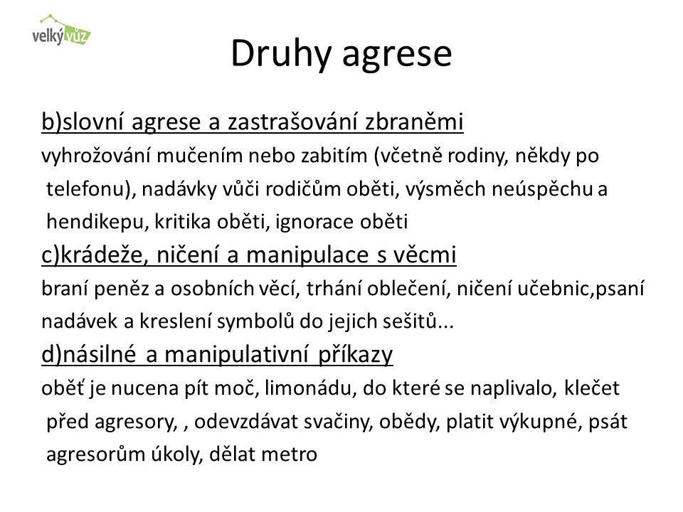 Druhy agrese b)slovní agrese a zastrašování zbraněmi