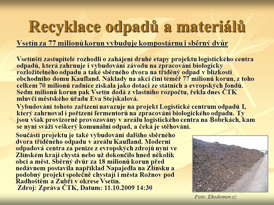 Recyklace odpadů a materiálů