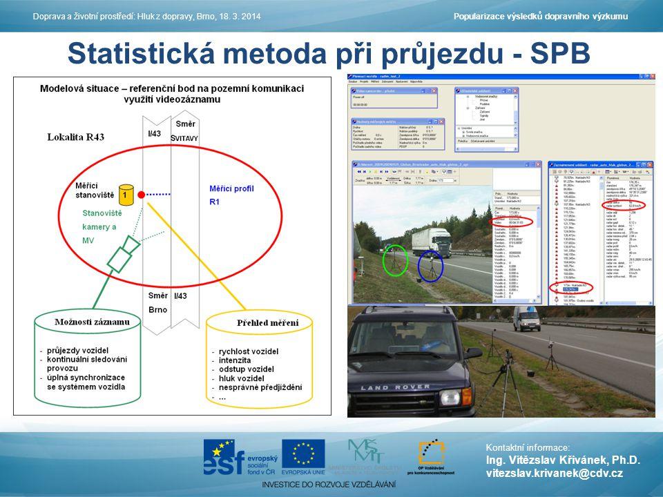 Statistická metoda při průjezdu - SPB