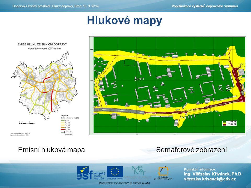 Hlukové mapy Emisní hluková mapa Semaforové zobrazení