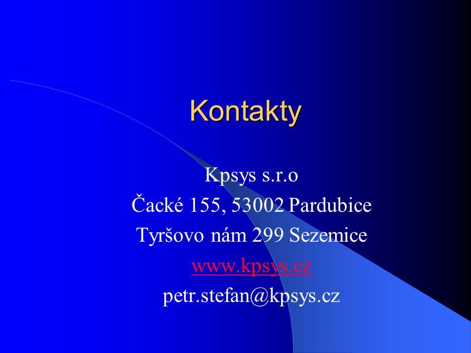 Kontakty Kpsys s.r.o Čacké 155, 53002 Pardubice