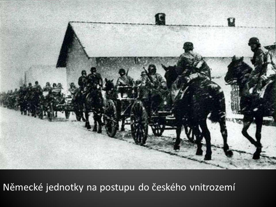 Německé jednotky na postupu do českého vnitrozemí