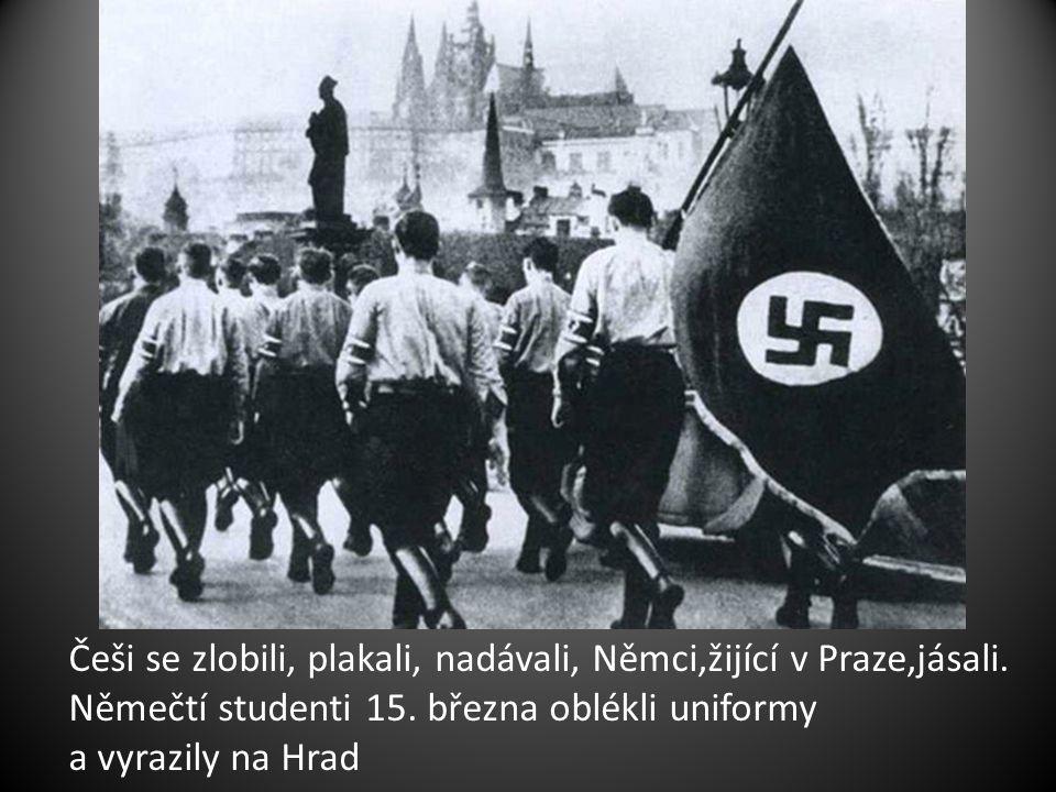 Češi se zlobili, plakali, nadávali, Němci,žijící v Praze,jásali