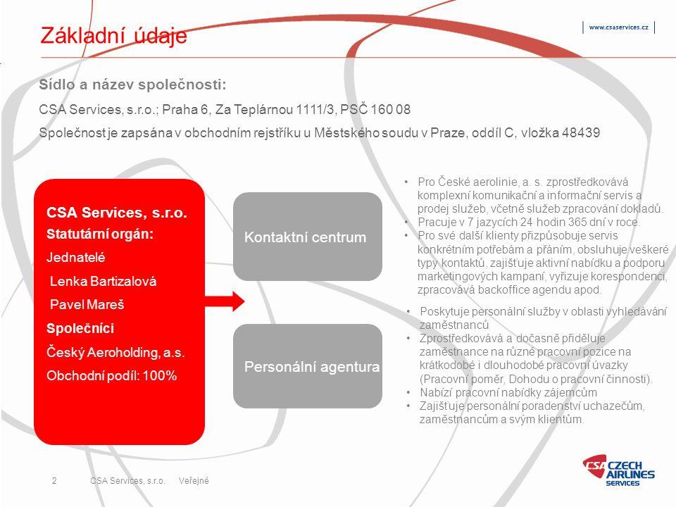 Základní údaje Sídlo a název společnosti: CSA Services, s.r.o.