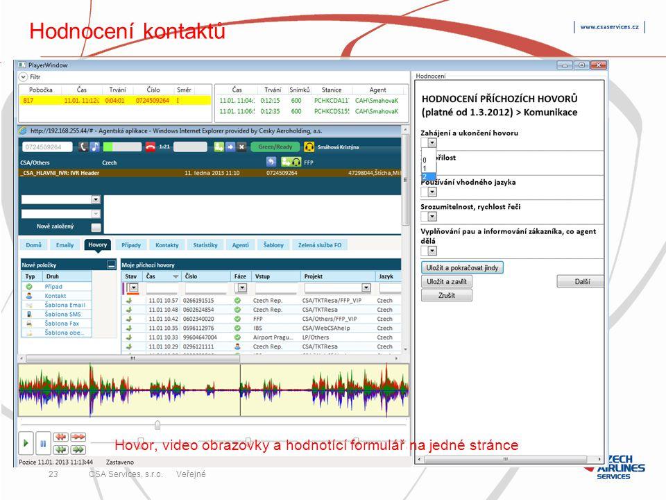 Hovor, video obrazovky a hodnotící formulář na jedné stránce