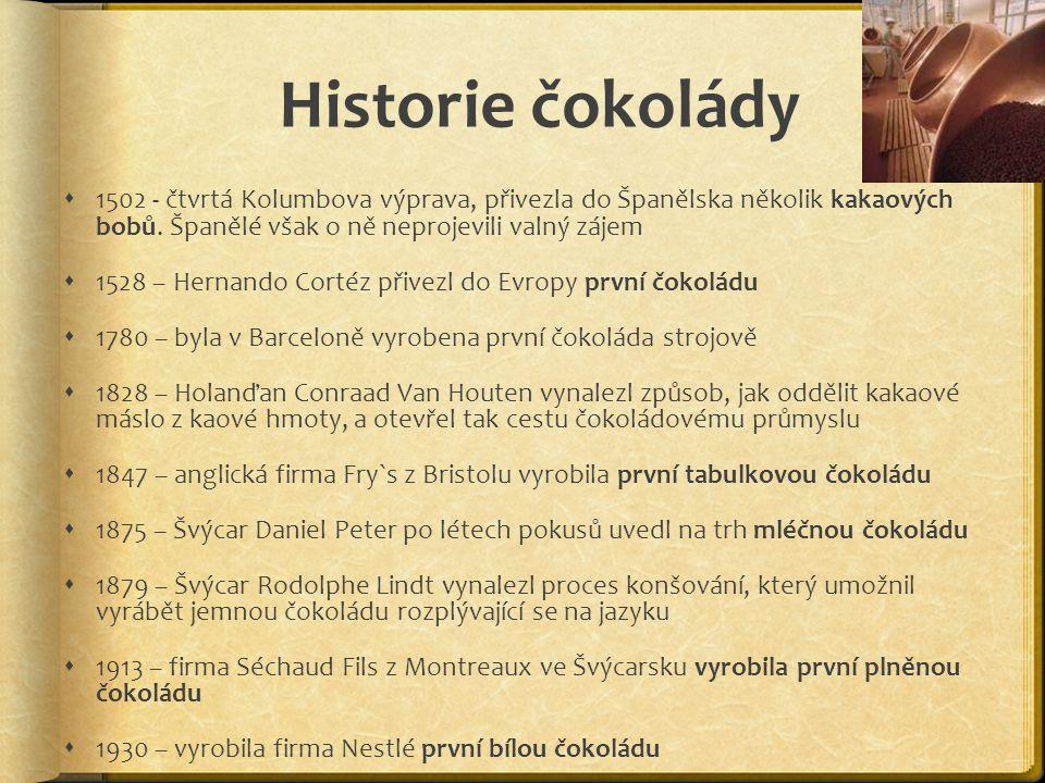 Historie čokolády 1502 - čtvrtá Kolumbova výprava, přivezla do Španělska několik kakaových bobů. Španělé však o ně neprojevili valný zájem.