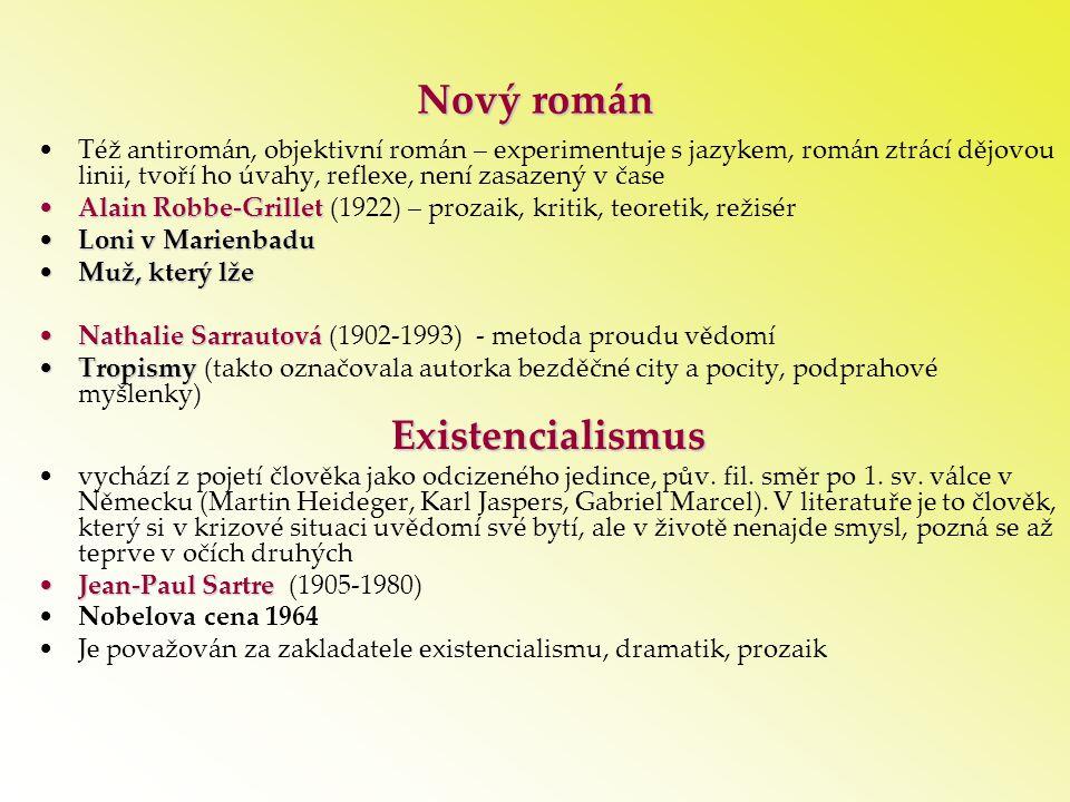 Nový román Existencialismus