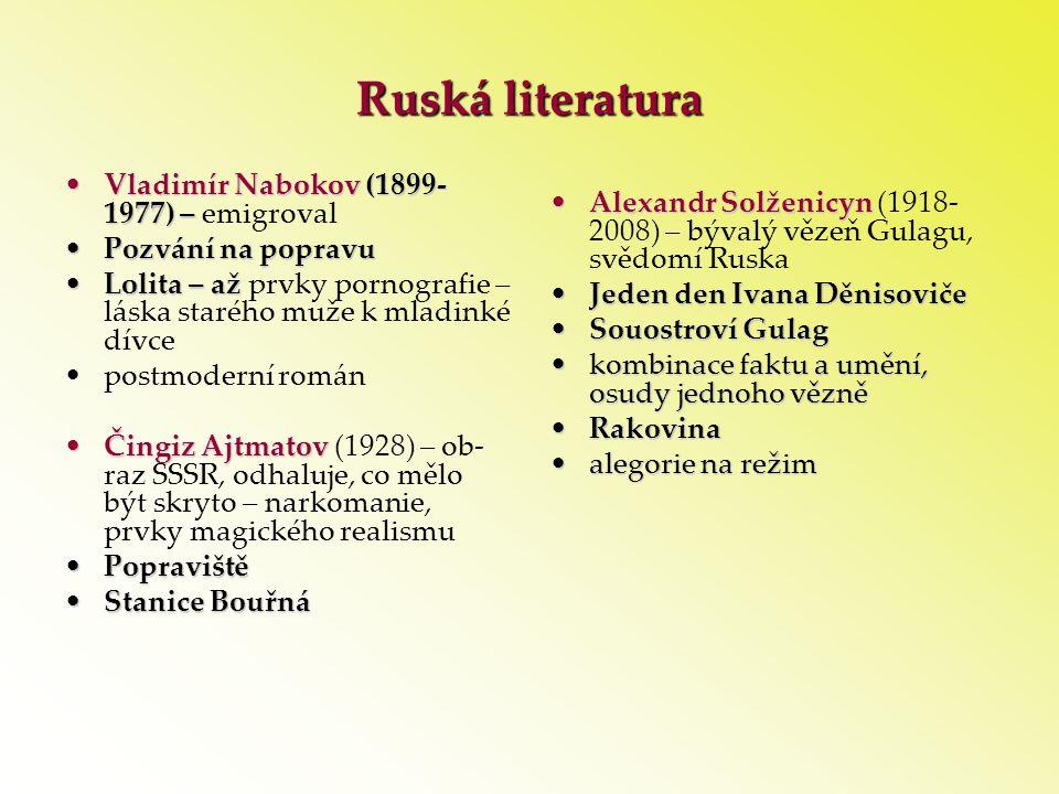 Ruská literatura Vladimír Nabokov (1899-1977) – emigroval