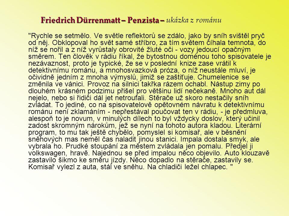 Friedrich Dürrenmatt – Penzista – ukázka z románu