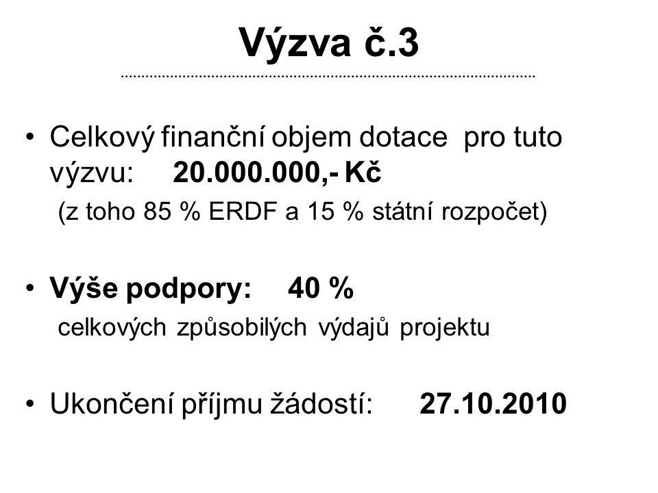 Výzva č.3 Celkový finanční objem dotace pro tuto výzvu: 20.000.000,- Kč. (z toho 85 % ERDF a 15 % státní rozpočet)