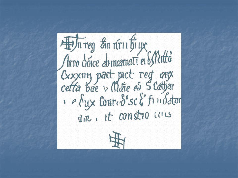 Ukázka písma zachovaného na stěnách rotundy sv