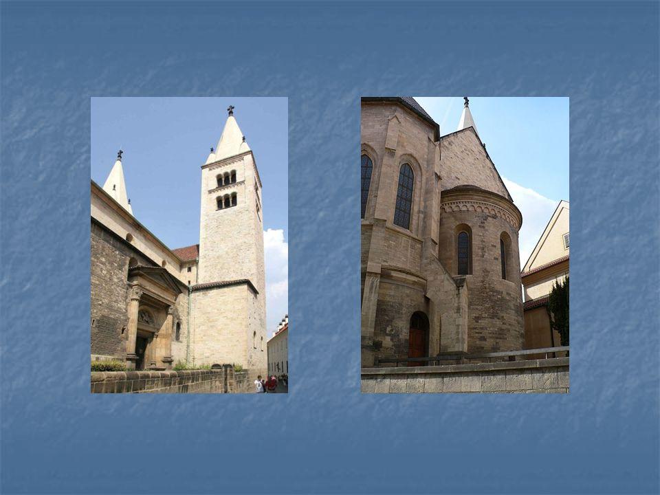 Bazilika sv. Jiří na Pražském hradě, vpravo apsida závěru tamtéž