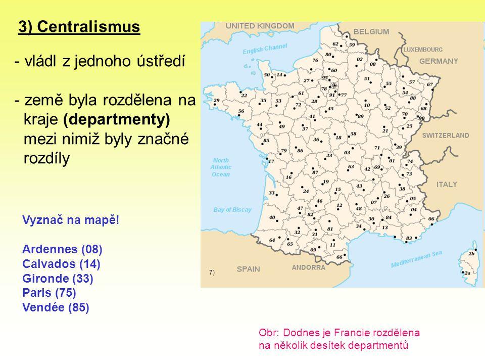vládl z jednoho ústředí země byla rozdělena na kraje (departmenty)