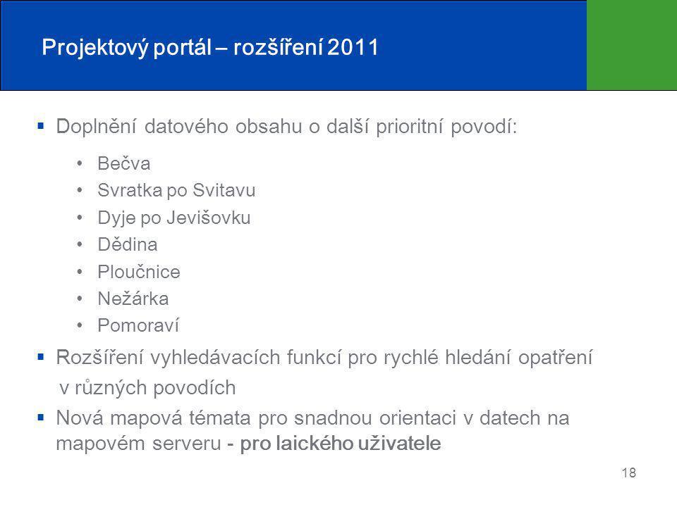 Projektový portál – rozšíření 2011
