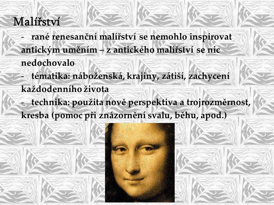 Malířství rané renesanční malířství se nemohlo inspirovat