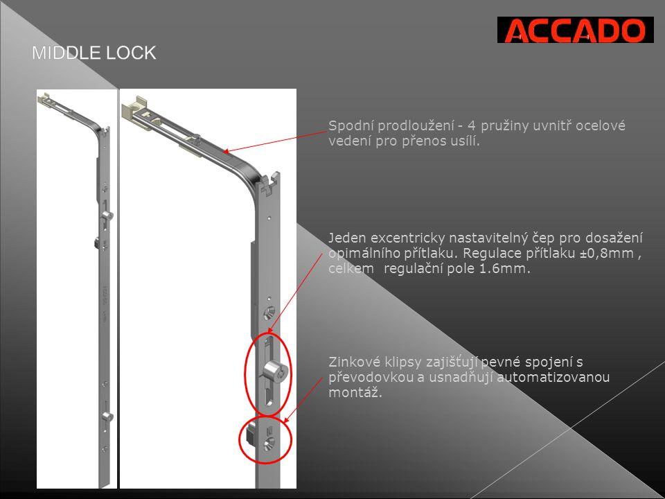 Spodní prodloužení - 4 pružiny uvnitř ocelové vedení pro přenos usílí.