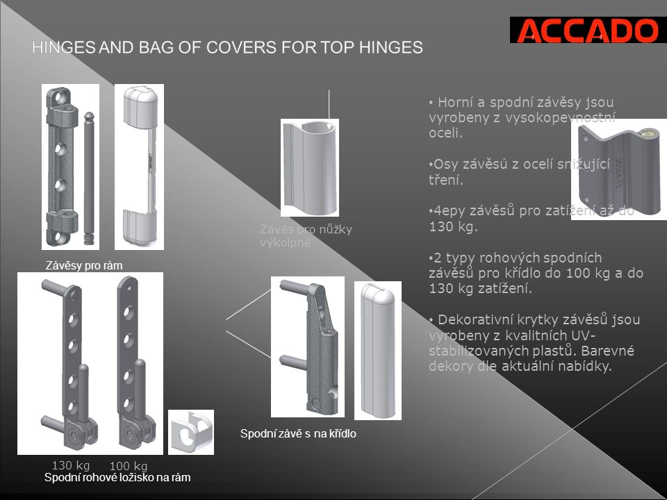 Horní a spodní závěsy jsou vyrobeny z vysokopevnostní oceli.