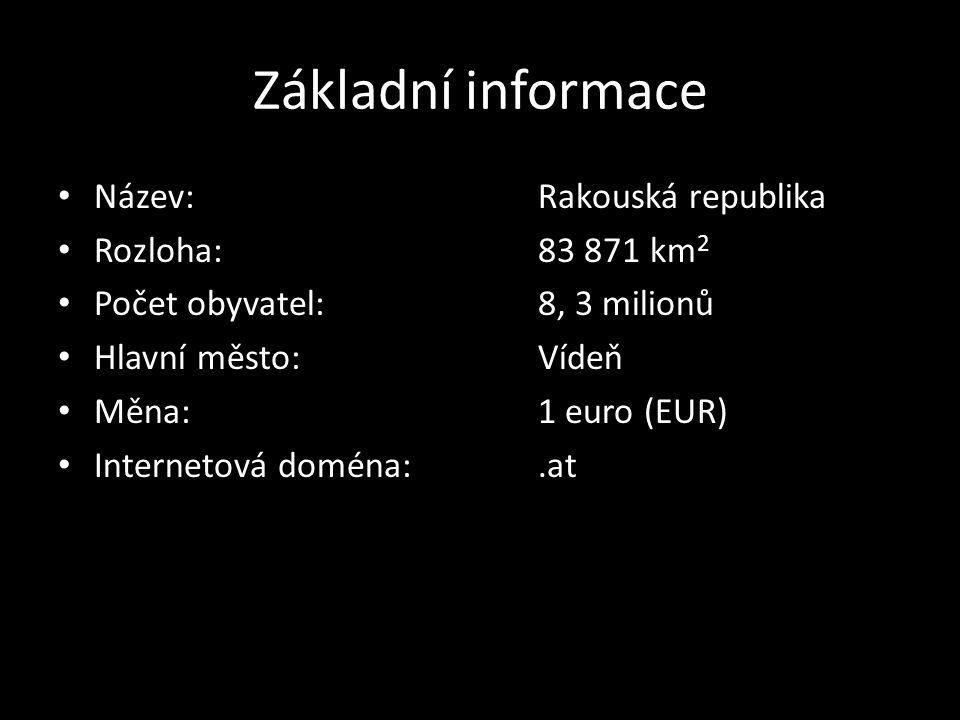 Základní informace Název: Rakouská republika Rozloha: 83 871 km2