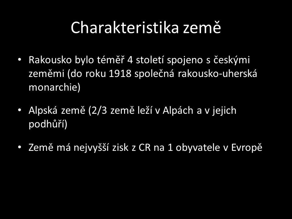 Charakteristika země Rakousko bylo téměř 4 století spojeno s českými zeměmi (do roku 1918 společná rakousko-uherská monarchie)