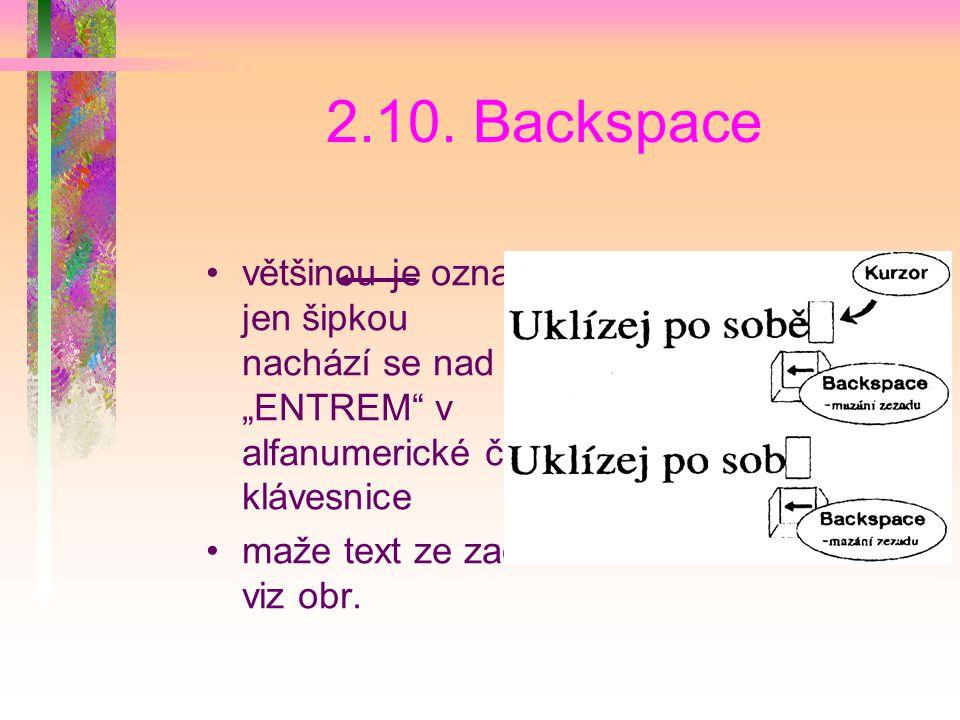 """2.10. Backspace většinou je označen jen šipkou , nachází se nad """"ENTREM v alfanumerické části klávesnice."""