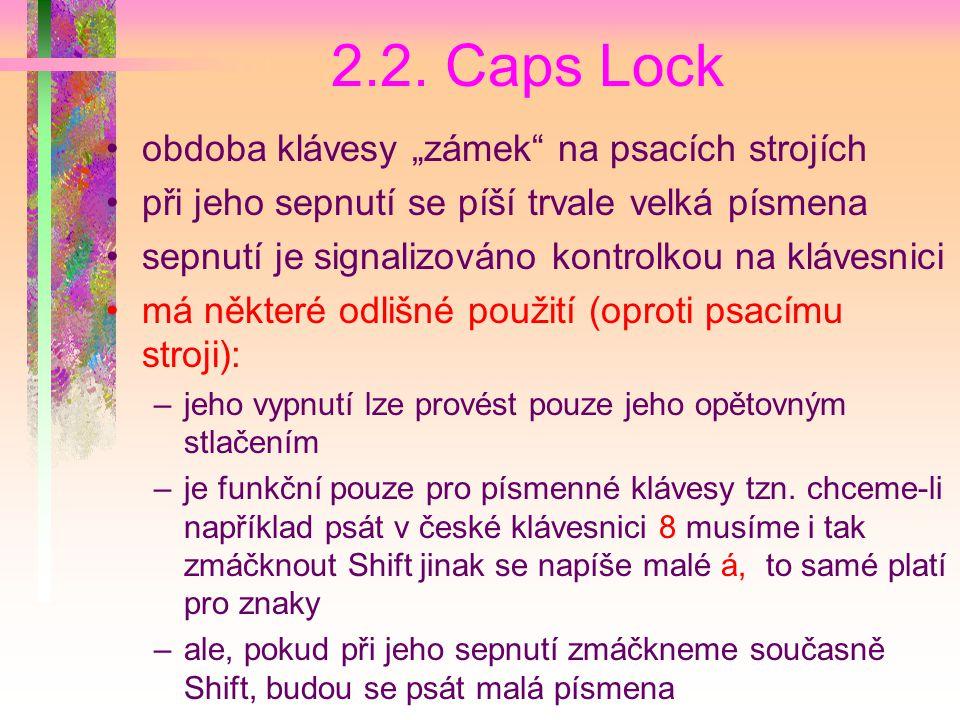 """2.2. Caps Lock obdoba klávesy """"zámek na psacích strojích"""