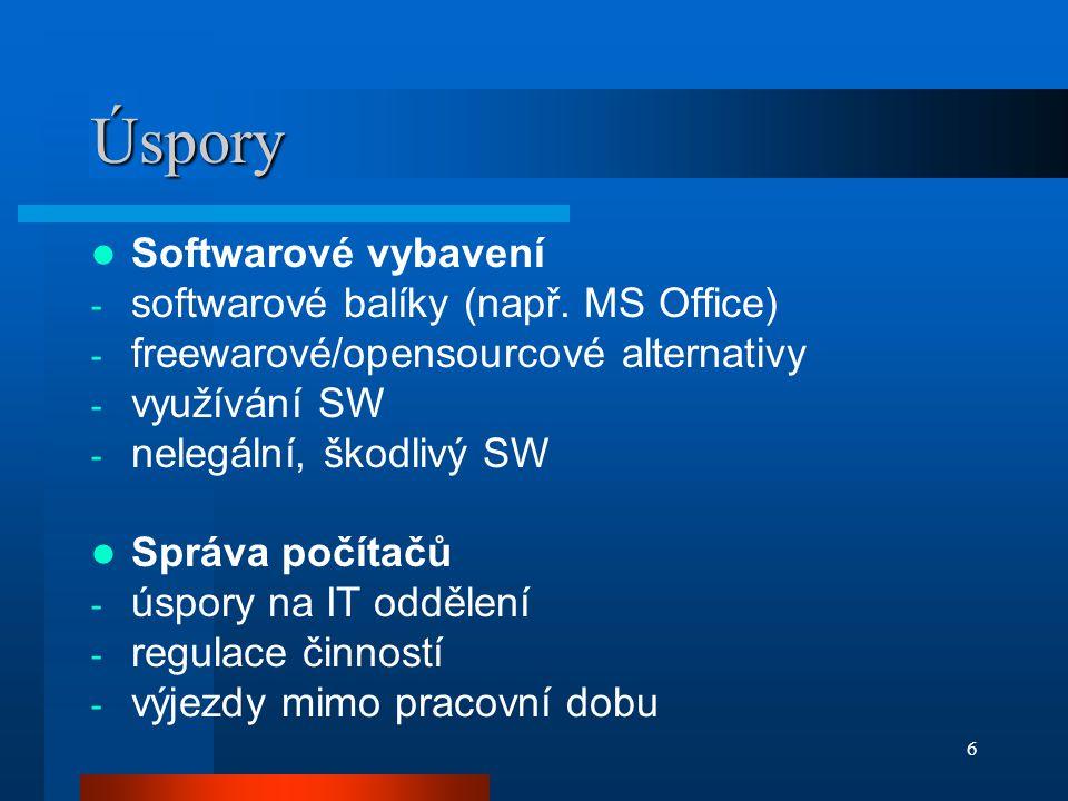 Úspory Softwarové vybavení softwarové balíky (např. MS Office)
