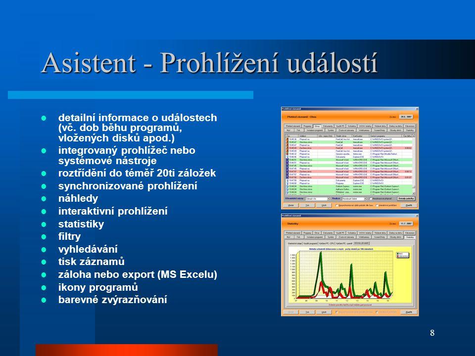 Asistent - Prohlížení událostí