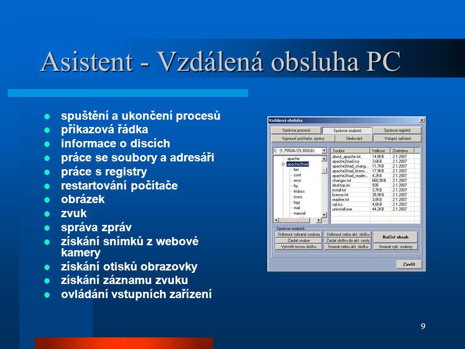 Asistent - Vzdálená obsluha PC