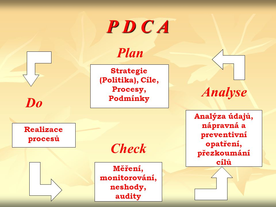 P D C A Plan Analyse Do Check Strategie